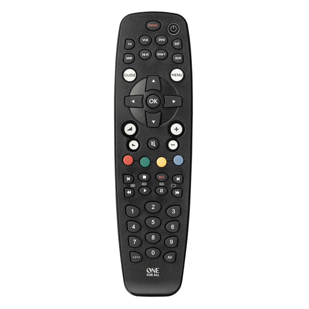 Controle remoto Universal 8 dispositivos TV, DVD, VCR, SAT, AMPLIFIER, AUDIO, AMP e AUX