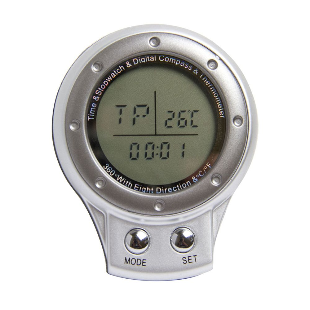 Bússola Digital 4 em 1: + Relógio, Cronômetro e Termômetro