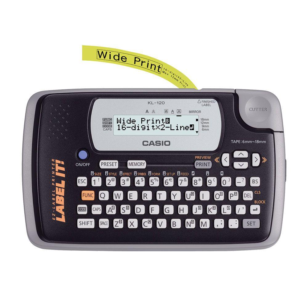 Etiquetadora Casio LCD de 2 linhas e 16 dígitos KL-120