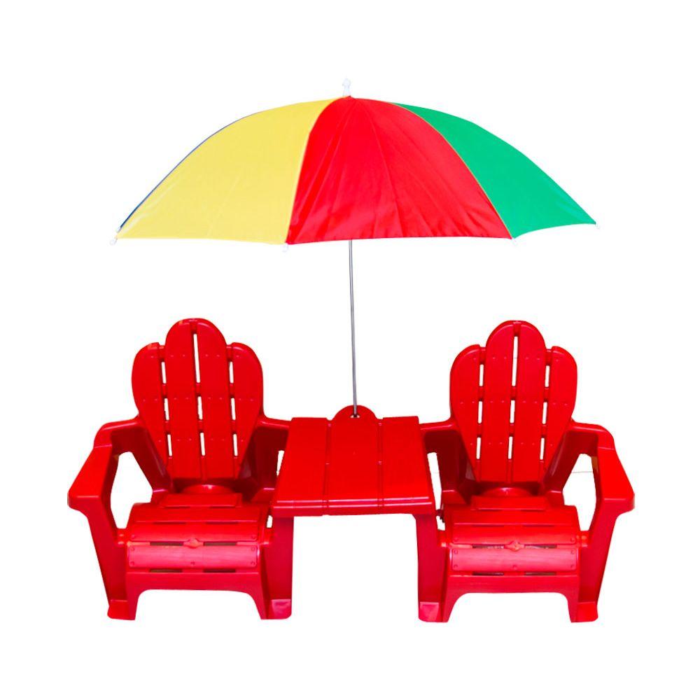 Conjunto infantil mesa, cadeiras e guarda-sol colorido