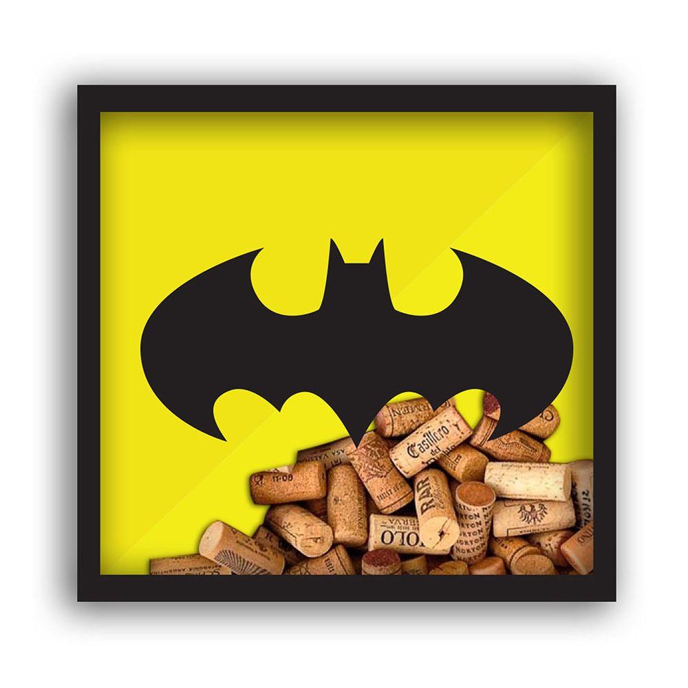 Quadro Rolha Madeira/Vidro DC Batman Logo Amarelo/Preto