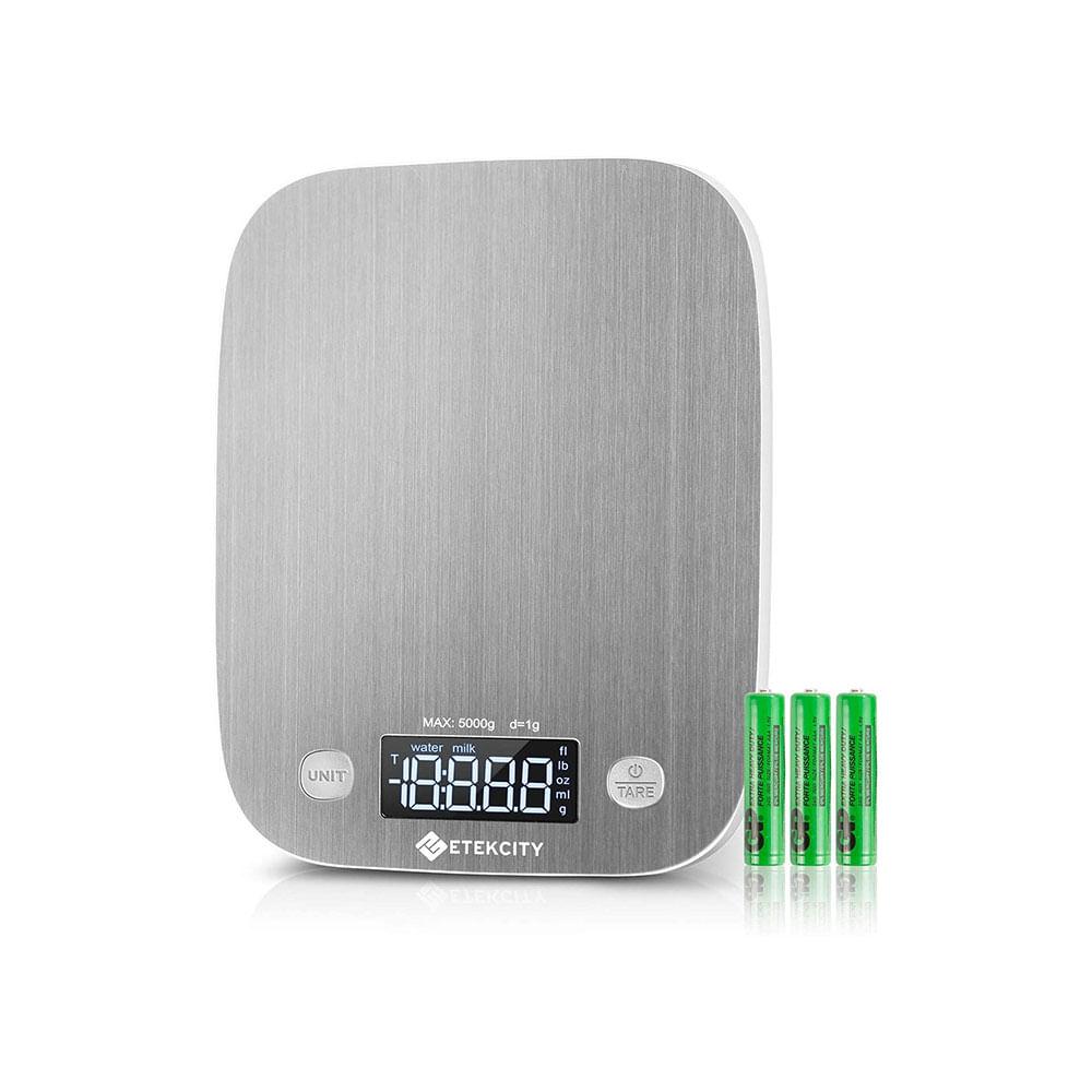 Balança Digital de Cozinha em Aço inoxidável com capacidade até 5000g