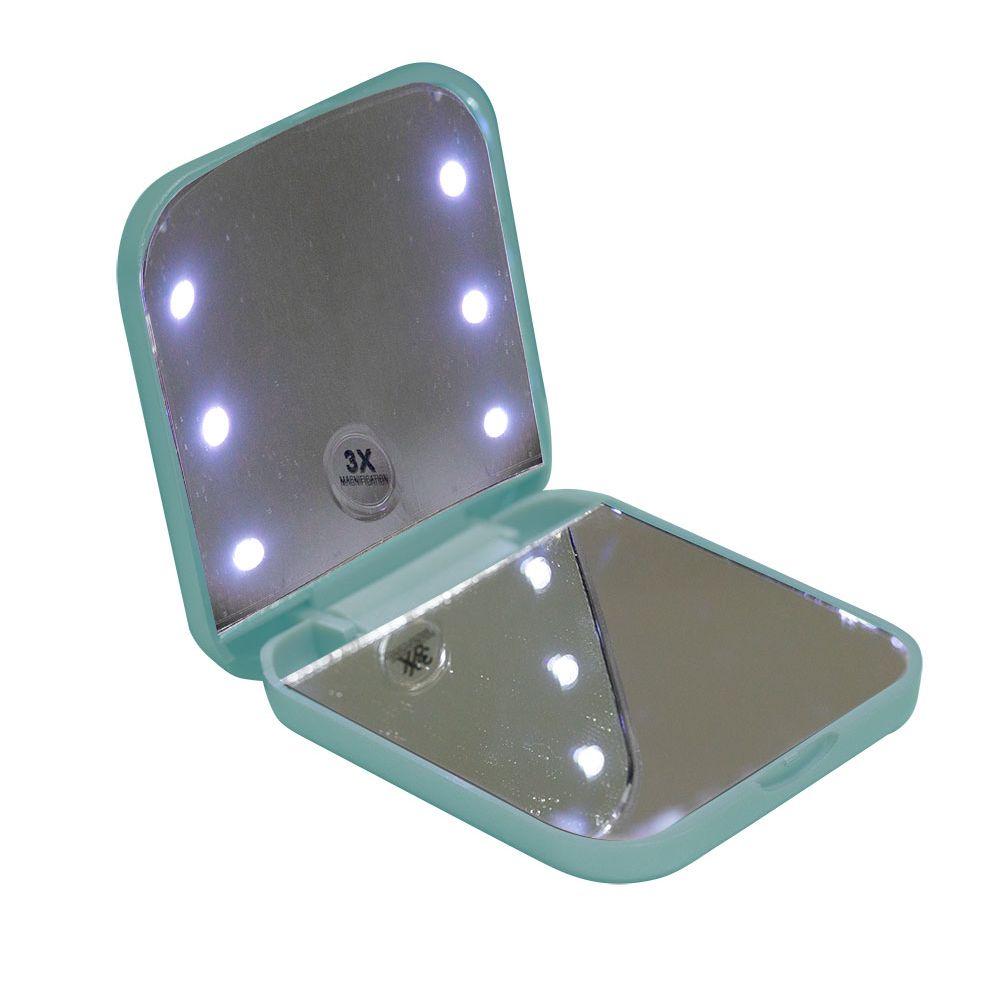 Espelho compacto e portátil Vivitar com iluminação por LED e Ampliação 3x - Verde Menta