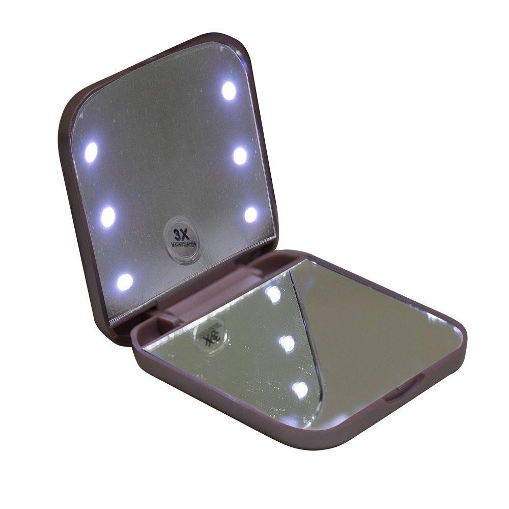 Espelho compacto e portátil Vivitar com iluminação por LED e Ampliação 3x - Rouge