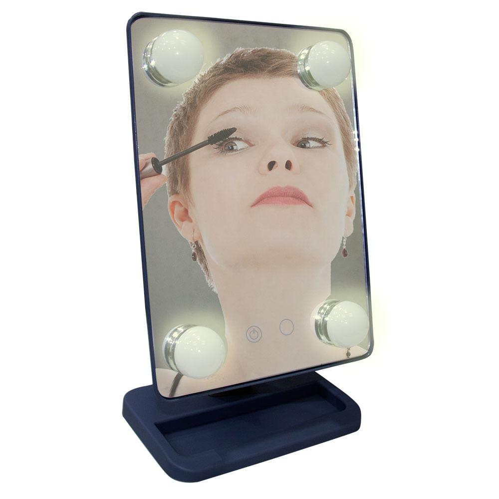 Espelho para maquiagem Vivitar Vanity Mirror com iluminação por LED e rotação 360° - Cinza