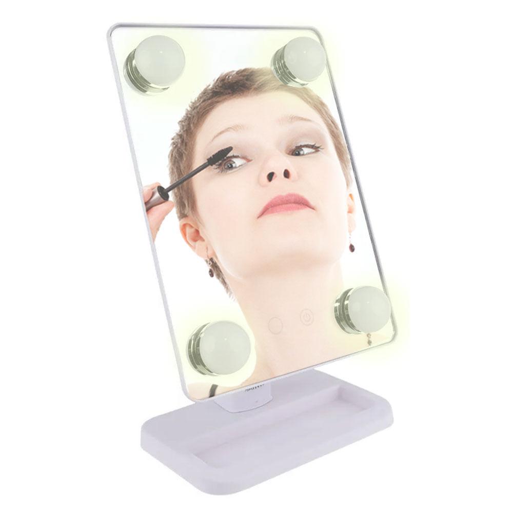 Espelho para maquiagem Vivitar Vanity Mirror c/ iluminação por LED e rotação 360°  Branca