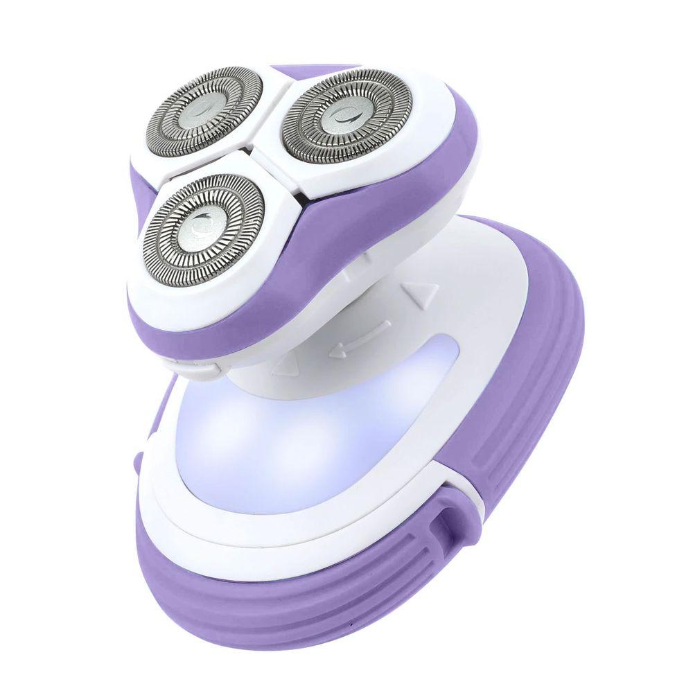 Removedor de Pelos elétrico com LED e cabeça impermeável  Roxa