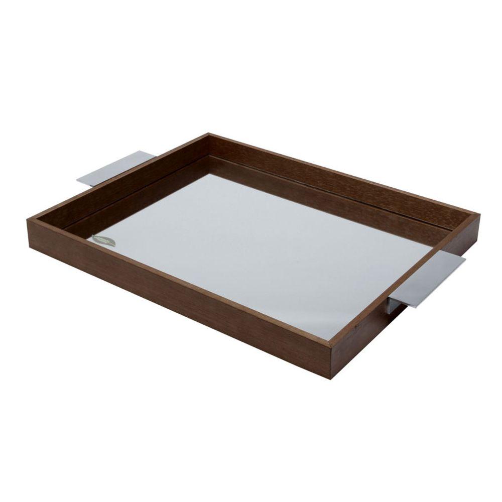 Bandeja Naturals em madeira com espelho 35x25x5cm