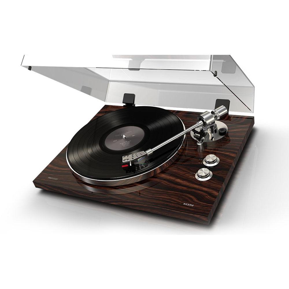 Toca-discos vinil com conversão digital e transmissão para qualquer alto-falante Bluetooth