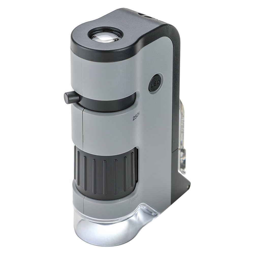 Microscópio de Bolso Carson MicroFlip 100x-250x c/ LED, lanterna UV e clip p/ Smartphone