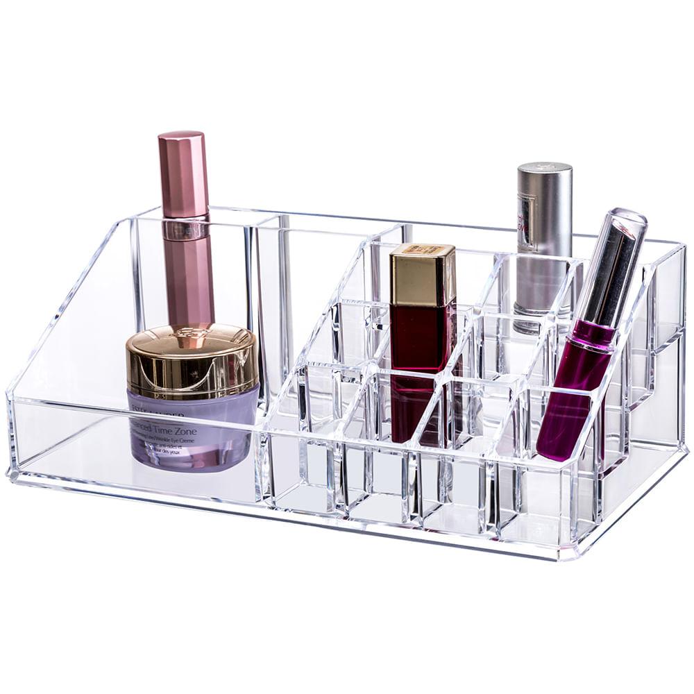 Porta maquiagem em acrílico - 22,3 x 12,7 x 8cm