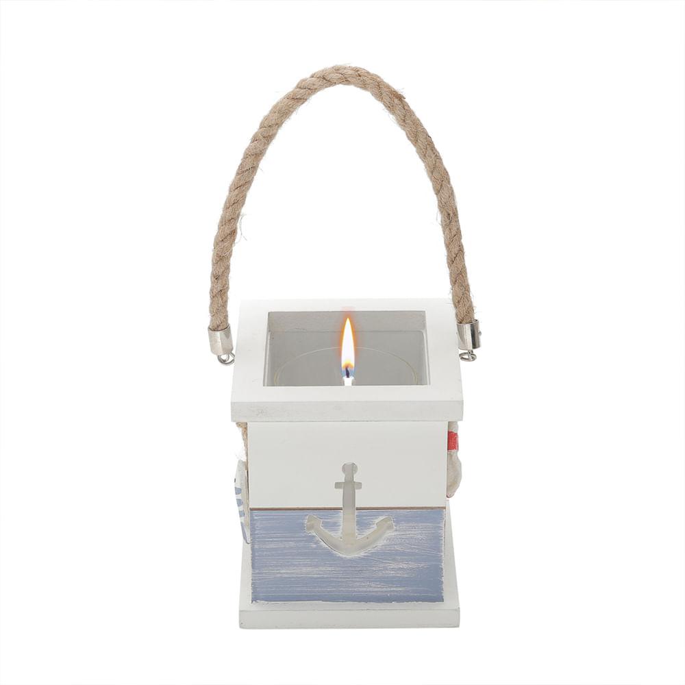 Porta velas madeira c/detalhes em resina 15x13x13cm