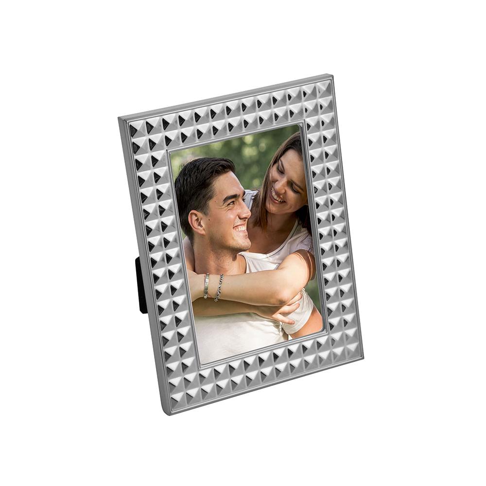 Porta-retrato aço Diamond prateado 10x15cm