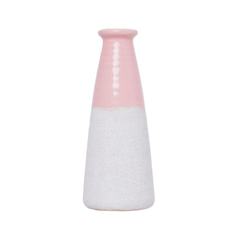 Vaso decorativo porcelana rosa/cinza 8x18cm