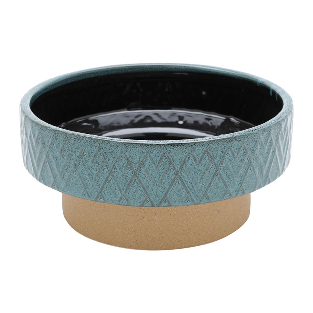 Vaso decorativo cerâmica azul 25x11cm