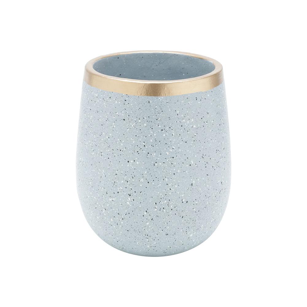 Vaso Decorativo Cerâmica Granilite Cinza 13X16Cm
