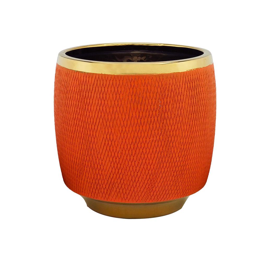 Vaso Decorativo Cerâmica Laranja 18X18Cm