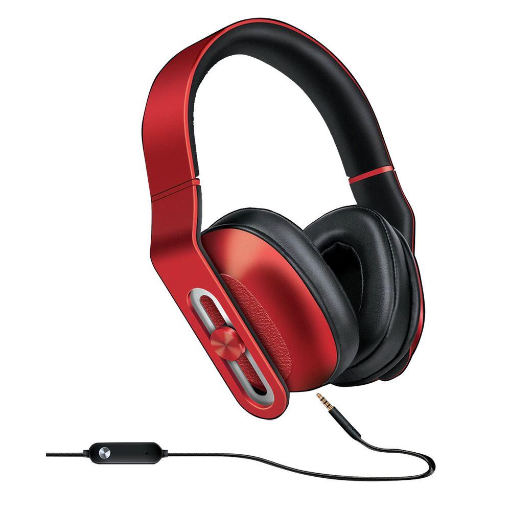 Headphone c/mic HM-330 e controle no cabo - Vermelho