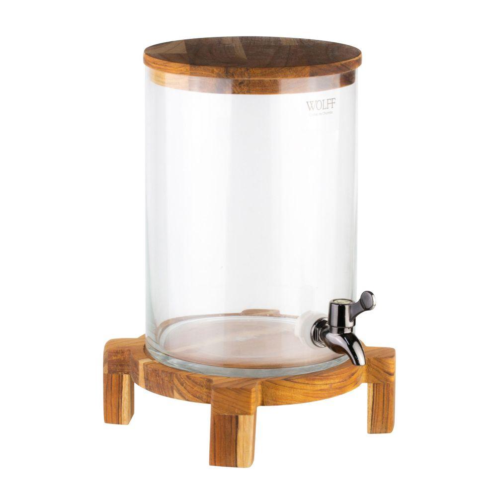 Dispenser em vidro com suporte e tampa madeira teca 24x31cm 5L