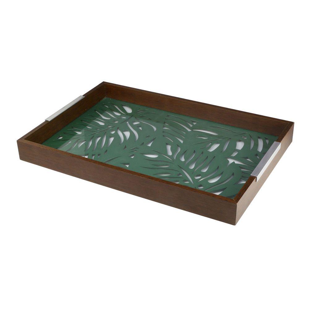 Bandeja Adam em madeira com vidro 37 cm x 28 cm x 5 cm