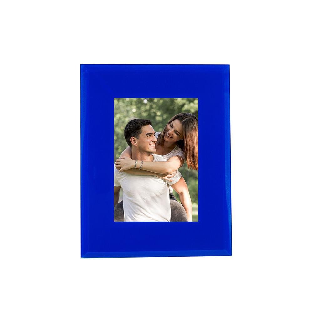 Porta-retrato vidro azul 10x15cm