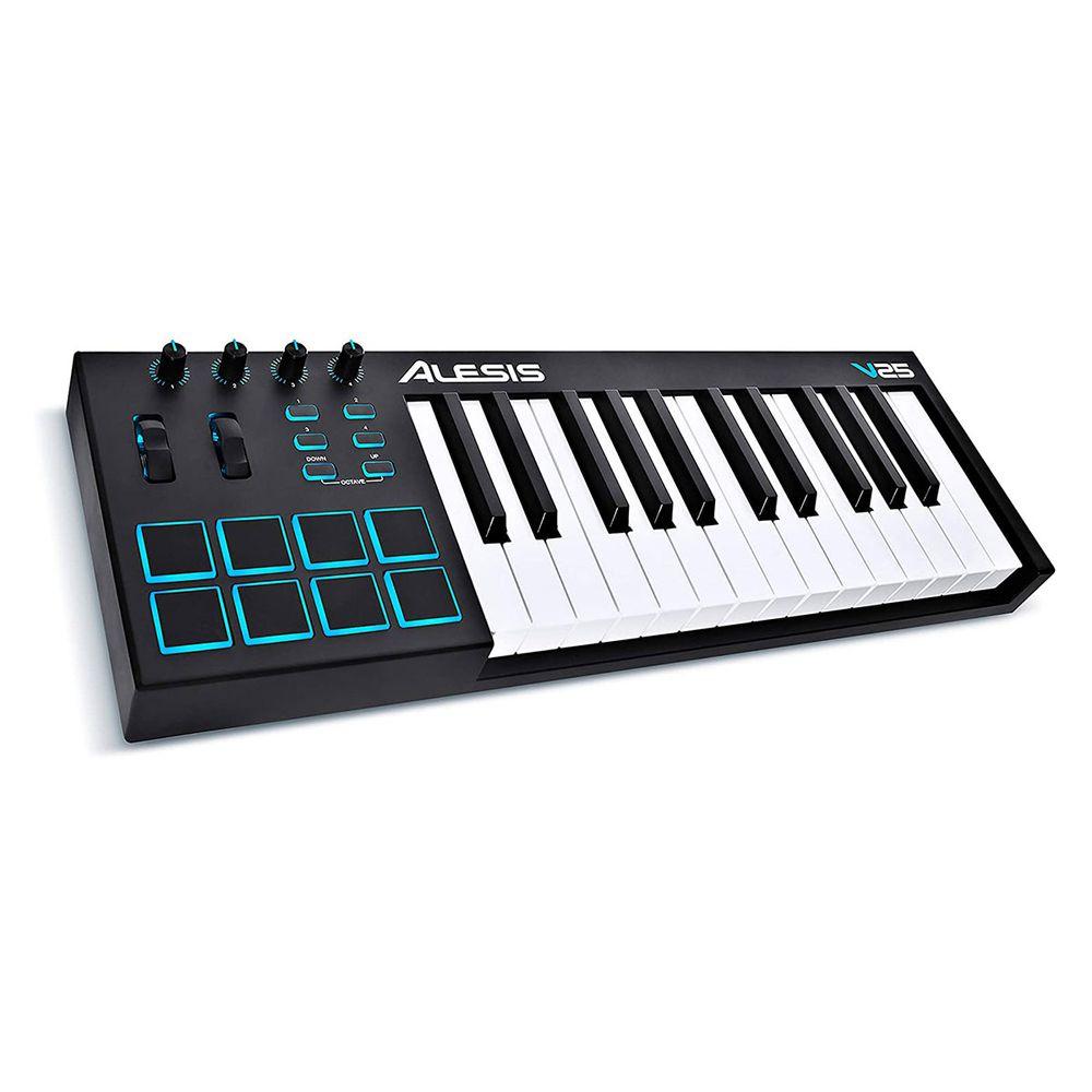 Teclado Musical Digital Alesis 25 teclas V25 com controlador USB-MIDI e 16 pads