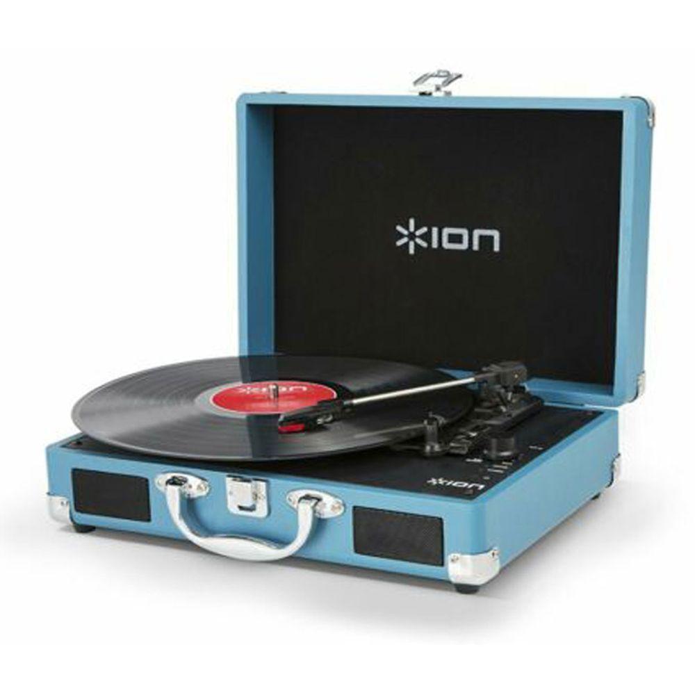 Toca-discos de Vinil  ION c/ conversão para formato digital em maleta retrô rígida