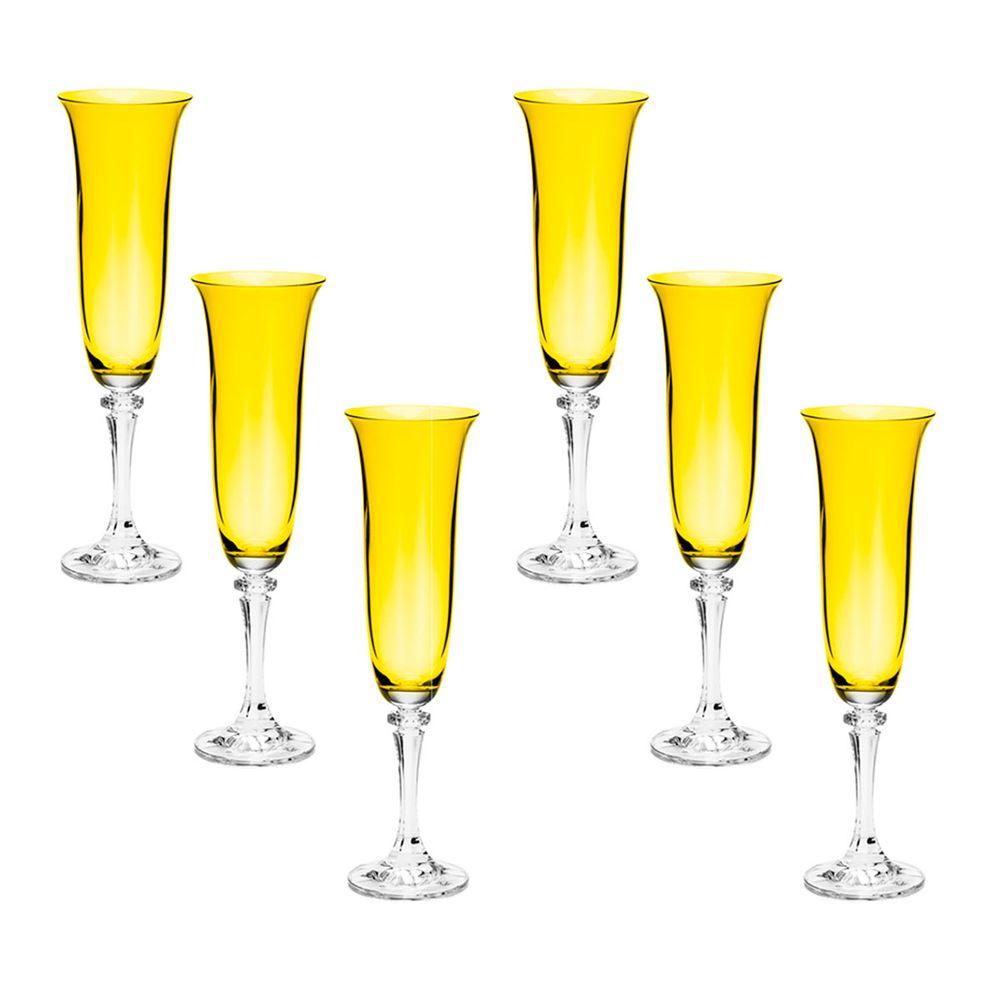 Conjunto com 6 taças cristal ecológico p/champanhe Kleopatra/Branta topázio 175ml