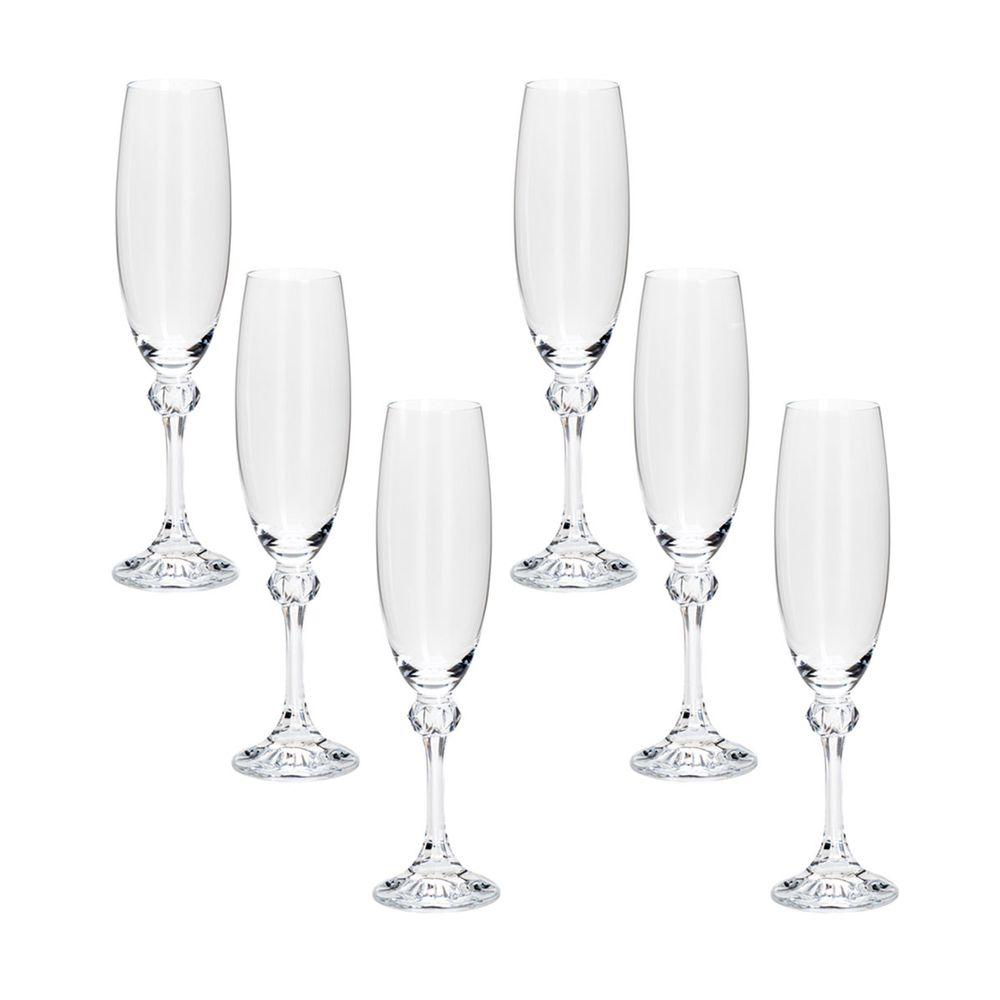 Conjunto com 6 taças cristal ecológico p/champanhe Elisa 220ml
