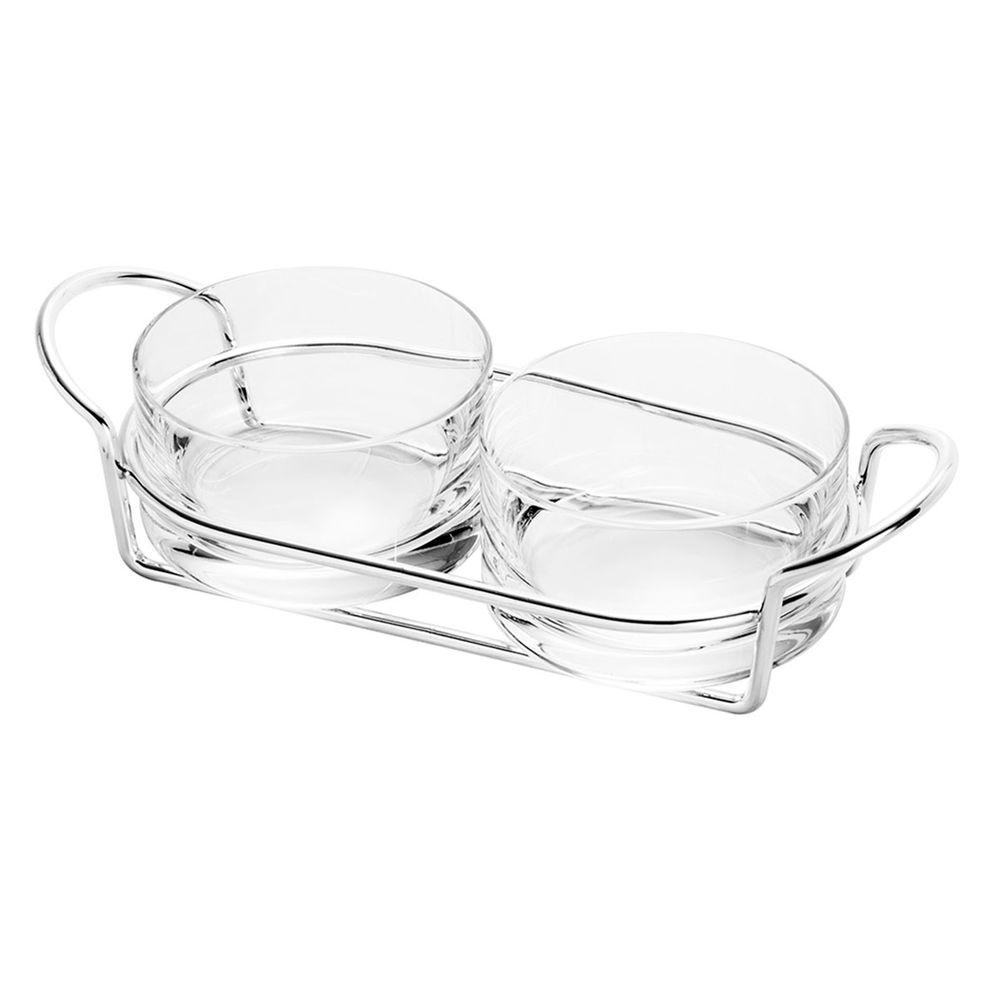 Petisqueira dupla de vidro e prata c/suporte Italy 24x10x8cm