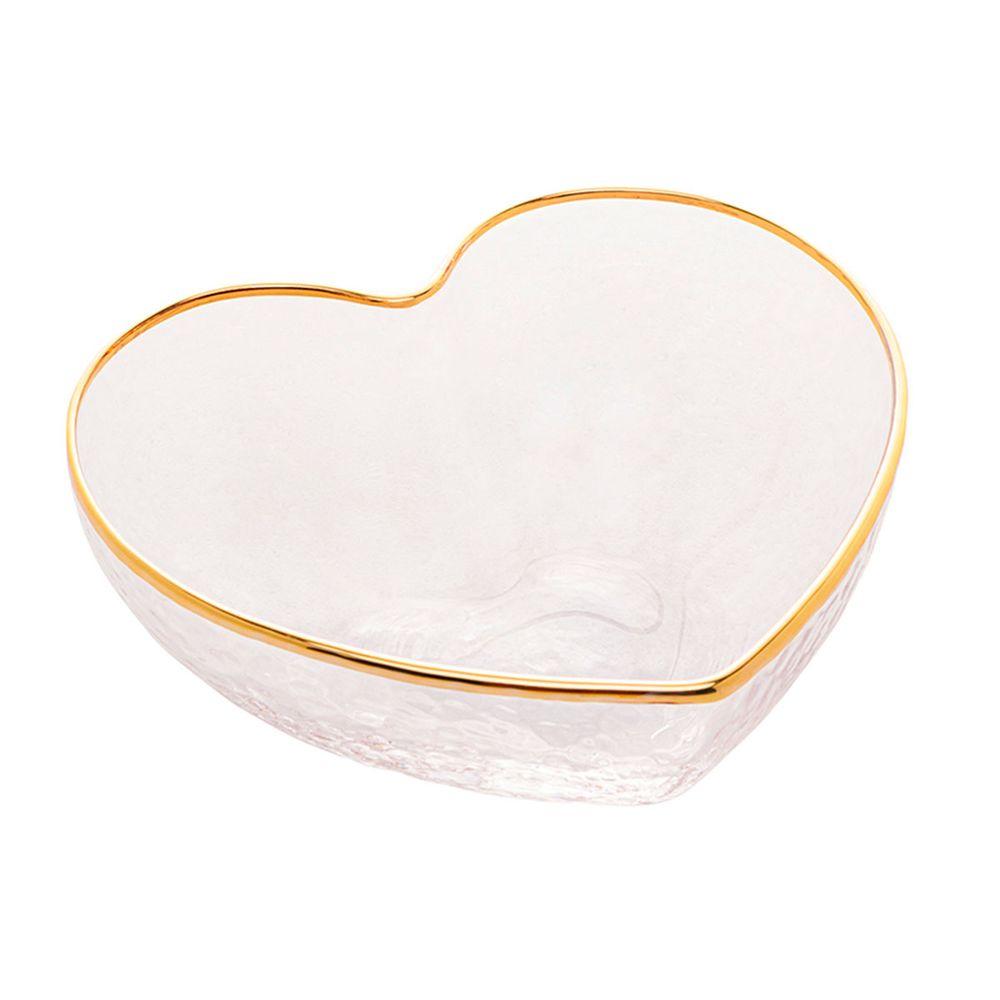 Bowl vidro c/borda dourada Heart 9x8x4cm