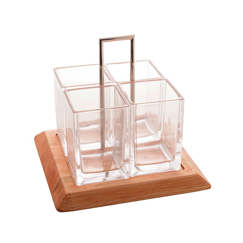 Porta talheres cristal/madeira Liptus 24x24x24cm
