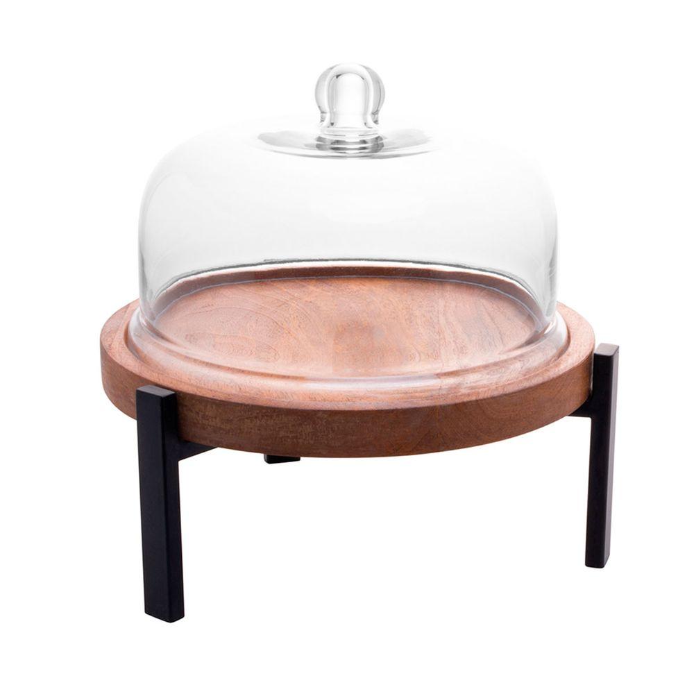 Prato p/bolo madeira c/tampa vidro 33x31cm